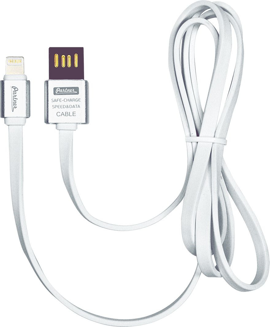 Кабель Partner, USB 2.0 - Apple iPhone/iPod/iPad 8pin, плоский, ПР032878, серебристый, 1 м кабель usb 2 0 apple iphone ipod ipad 8pin 1м partner