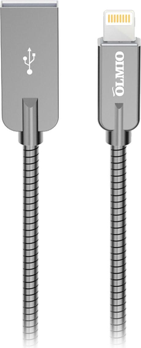 Кабель Olmio Steely, USB 2.0 - Lightning, ПР038649, серый, 1.2 м