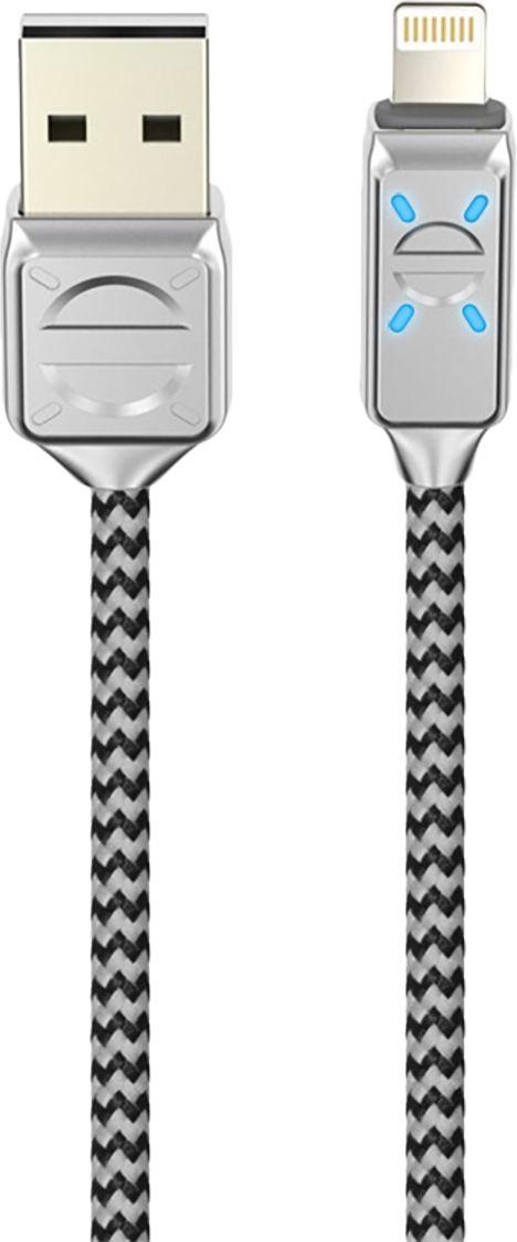 Кабель Olmio LED, USB 2.0 - Lightning, ПР038659, серый, 1.2 м