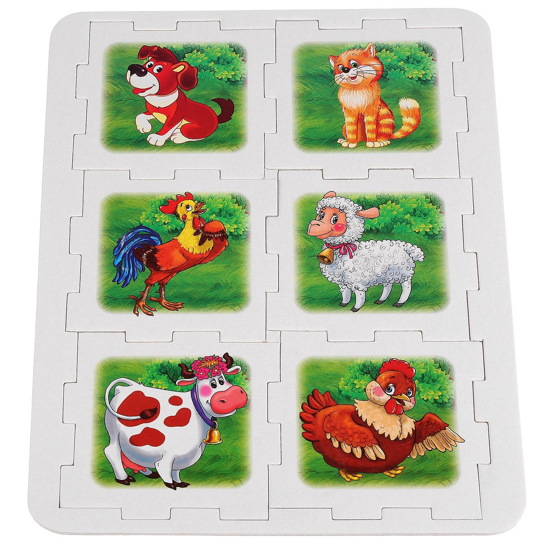Мягкий кубик-пазл УмкаДомашние животные, 256809, разноцветный, 6 деталей пазл контур для малышей домашние животные в к 27 5 20 4 см