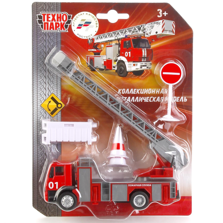 Машинка Технопарк Пожарная, 242505 машина технопарк металл пожарная 1 64 длина 15см с аксесс на блистере русс уп в кор 12 6шт