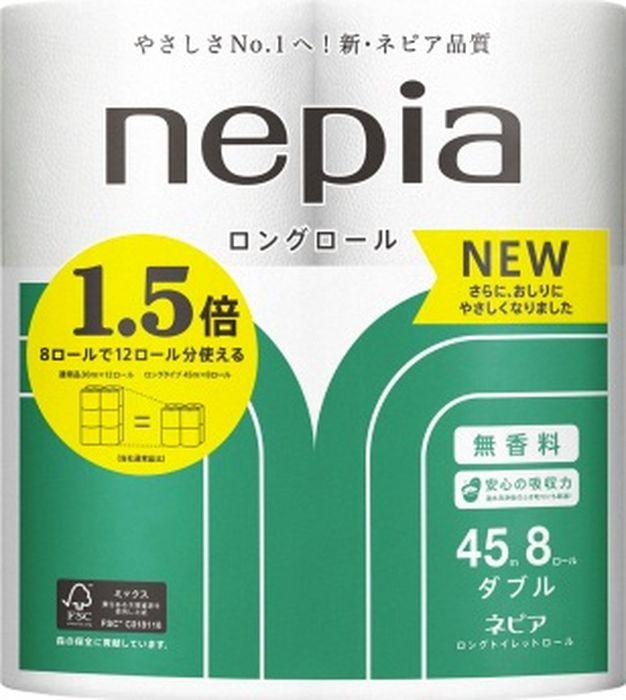 Туалетная бумага Nepia Long Roll, 262802, двухслойная, 8 рулонов
