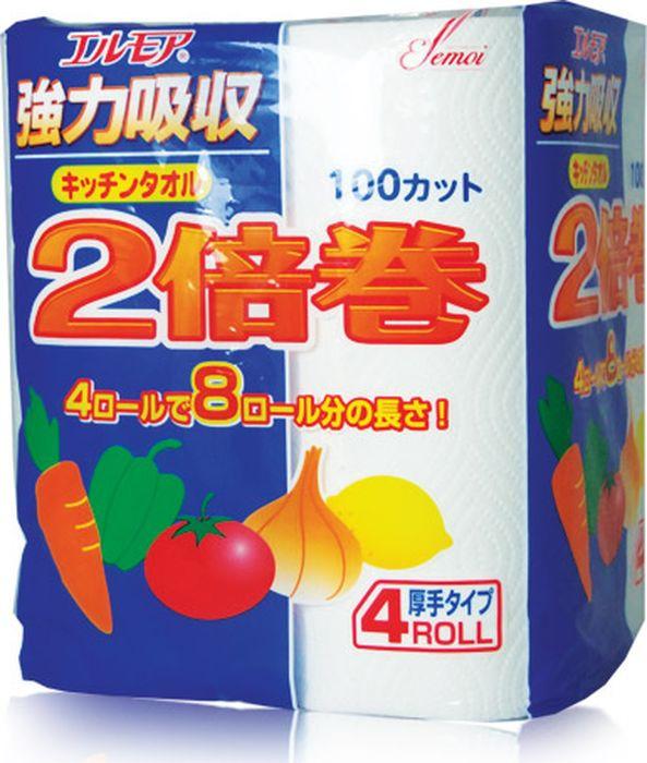 Фото - Бумажные полотенца Kami Shodji Ellemoi, 170124, двухслойные, 4 рулонов салфетки и полотенца для дома jie yun hygienix 250 3
