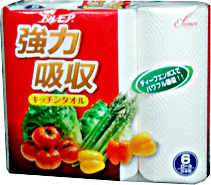 Фото - Бумажные полотенца Kami Shodji Ellemoi, 170339, двухслойные, 6 рулона салфетки и полотенца для дома jie yun hygienix 250 3
