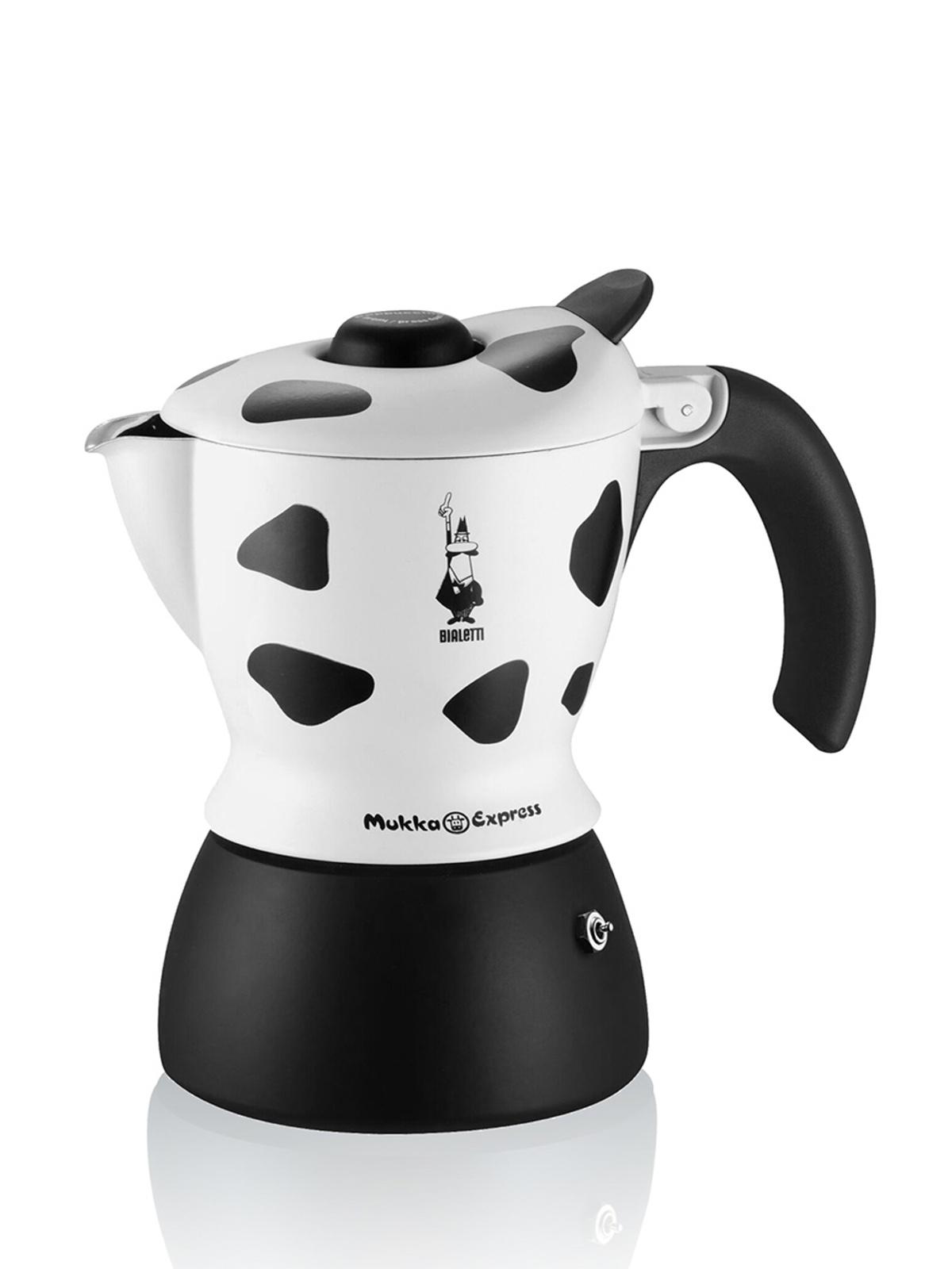 Гейзерная кофеварка Bialetti Mukka Express, белый, черный кофеварка гейзерная bialetti moka induzione 3 порции сталь 4922