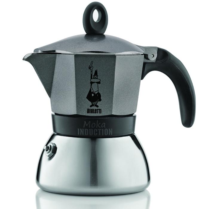 Кофеварка гейзерная Bialetti Moka Induction, антрацит, на 3 чашки кофеварка гейзерная bialetti moka induzione 3 порции сталь 4922