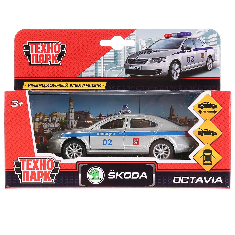 Машина Технопарк Skoda Octavia, 259362, серебристый, синий, 12 см технопарк машина урал будка милиция полиция