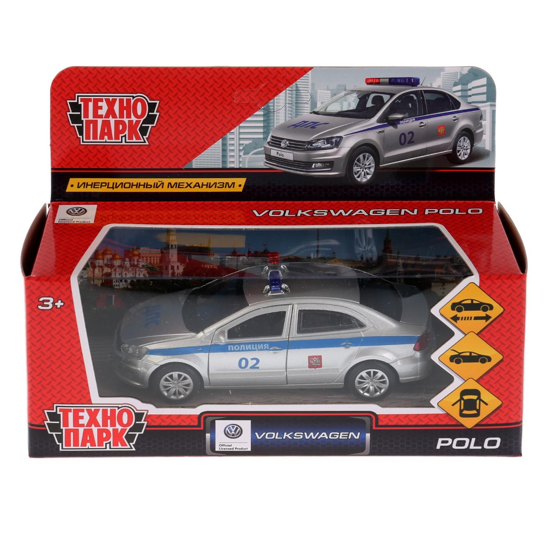 Машина Технопарк VW Polo полиция, 259364, серебристый, синий, 12 см технопарк машина урал будка милиция полиция