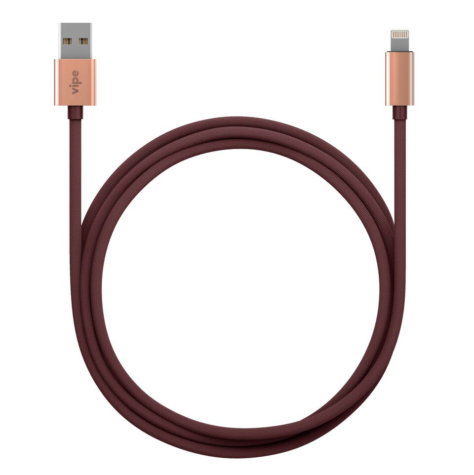 Кабель Vipe USB - Lighting, MFI, 644-vpmficblcopbur, бордовый