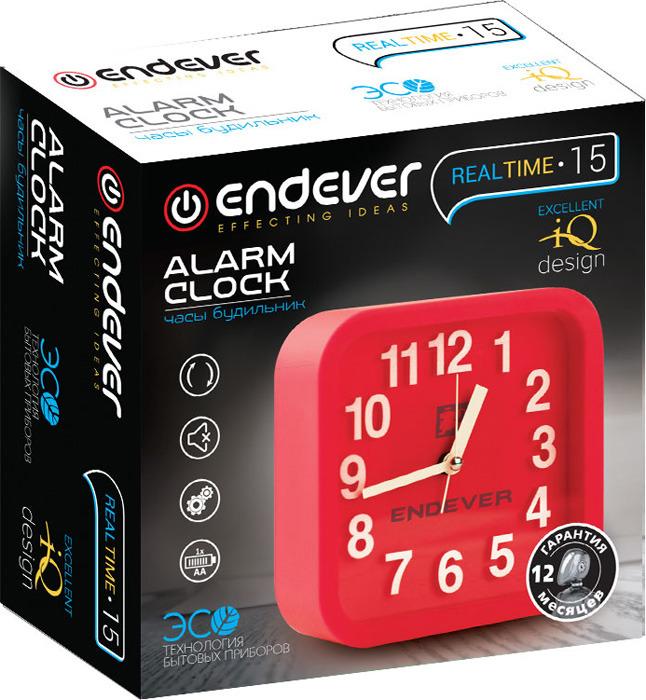 Часы-будильник Endever RealTime 15, кварцевые, красный Endever