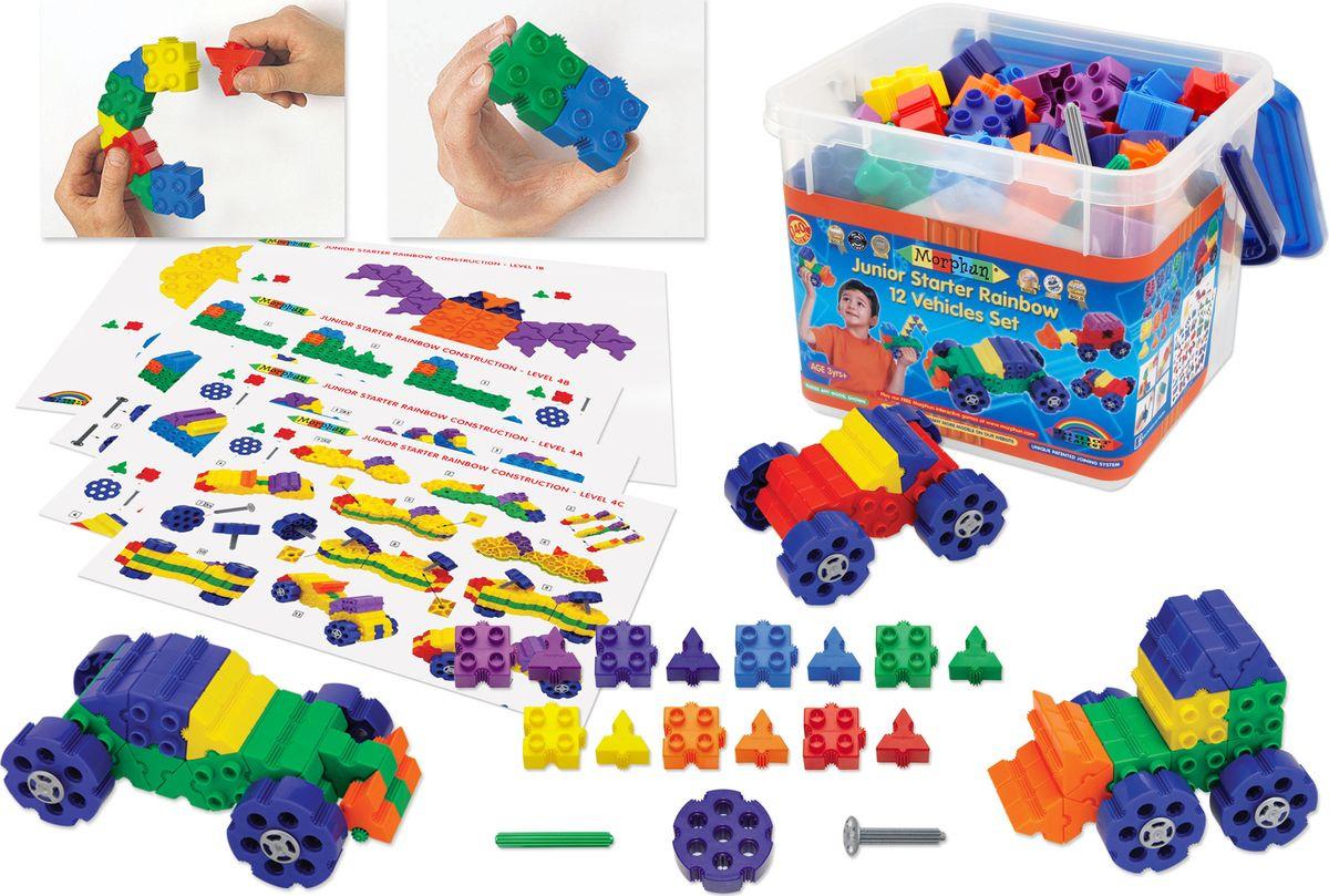 Пластиковый конструктор Morphun Машины Радуга Junior Starter Rainbow 12 Vehicle Set , 52404SRB52404SRBМашинки 7 цветов радуги – это особенное удовольствие для юного конструктора! С конструктором Morphun «Junior Starter Rainbow 12 Vehicles 140 Set» ваш малыш сможет собрать разные по сложности модели и составить собственный детский автопарк! В игре развивается моторика, запоминаются цвета, изучаются геометрические фигуры и формы. Экскаватор, бульдозер, разные легковые и гоночные модели просто собрать по имеющимся в наборе схемам. Занятия с конструктором Morphun полезны для формирования логического и абстрактного мышления, развития воображения и прилежания. Неусидчивого ребенка они помогают научить завершать дела, флегматичного побуждают проявлять эмоции, придумывать, творить. При желании всегда можно дополнить основной набор дополнительными деталями, освоить новые, более сложные модели и построить целый игровой мир для вашего ребенка. Все элементы конструктора Morphun совместимы и и могут дополняться с другим наборами.