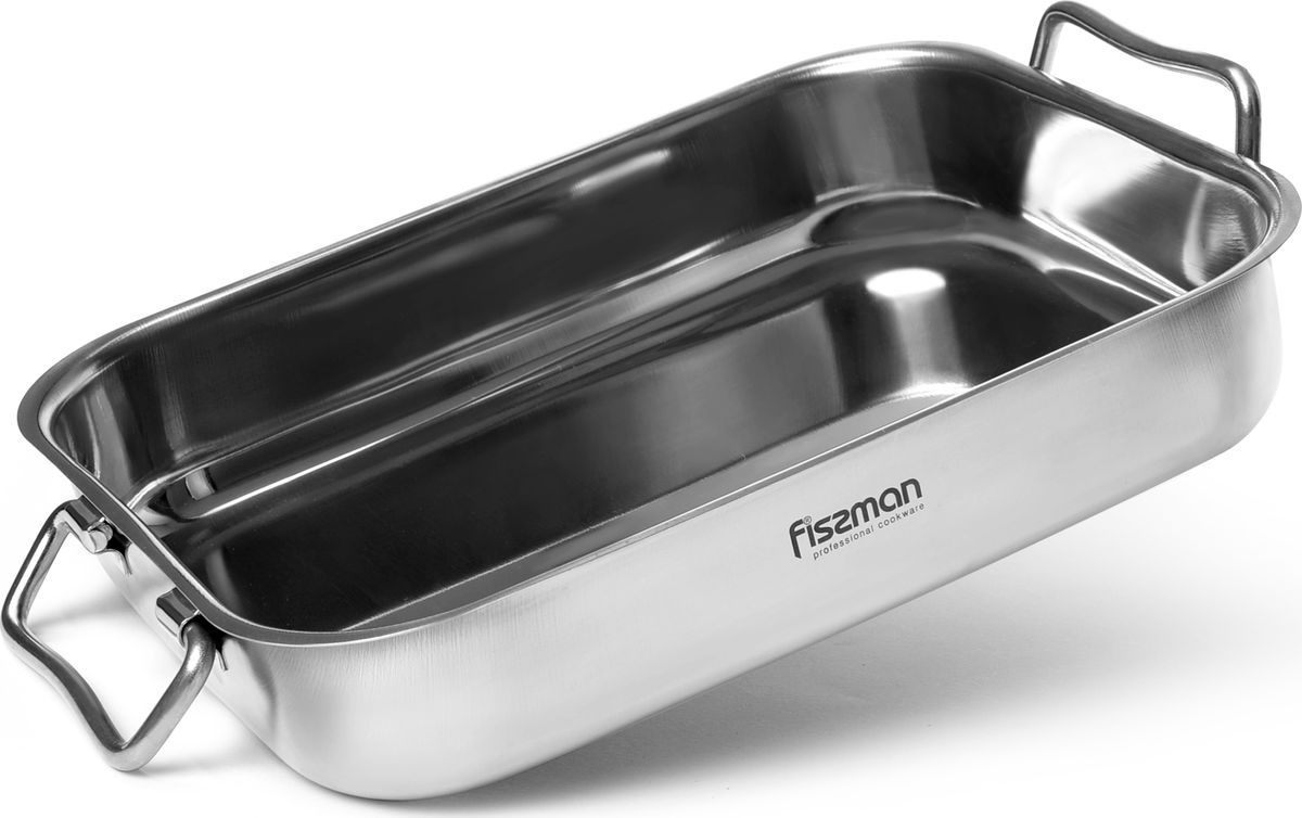 Противень Fissman, 5879, серый металлик, 35 x 26 x 6 см matissa противень для запекания matissa 29х20х5 см алюминий