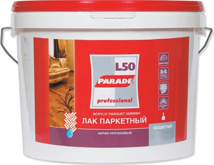 цена на Лак Parade Professional L50 Aqua Parquet, акрил-уретановый, паркетный, глянцевый, 4603292005850, прозрачный, 9 л