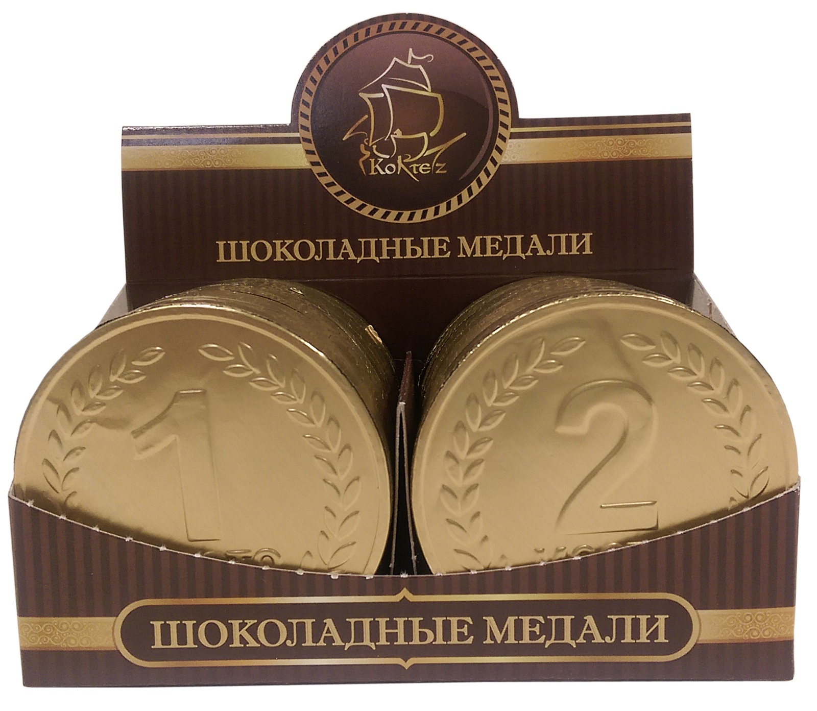 """25г Шоколад фигурный молочный Медаль """"ЧЕМПИОН"""" (1 и 2 место)"""