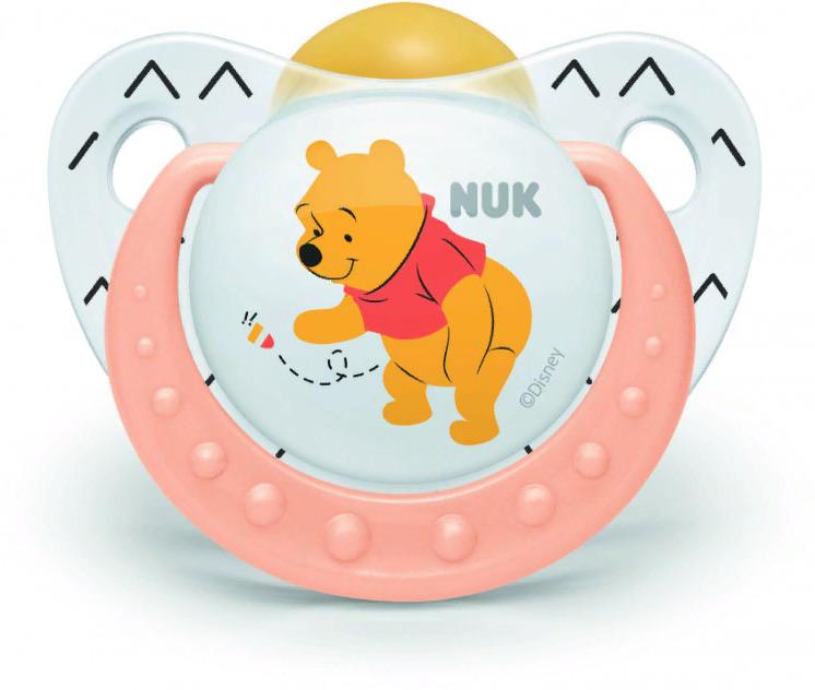 Пустышка NUK Trendline Disney, латексная, от 0 месяцев, 10725876-Оранжевый пустышки nuk ортодонтическая латексная baby rose размер 1 0 6 мес