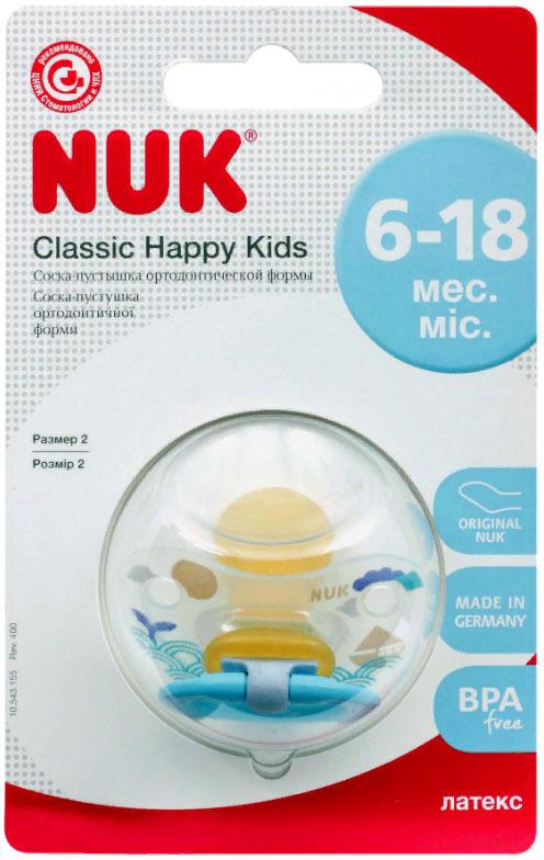 Пустышка NUK Happy Kids, латексная, от 6 месяцев, 10733765-Голубой цены