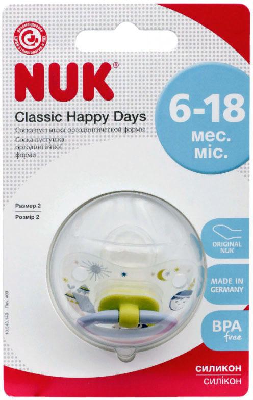 Пустышка NUK Happy Days, силиконовая, от 6 месяцев, 10735136, голубой