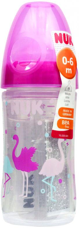 Бутылочка для кормления NUK First Choice New Classic, с силиконовой соской FC, от 0 месяцев, 150 мл, 10743769-Фламинго розовый