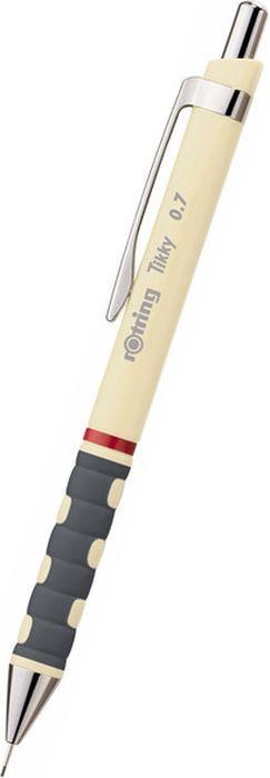 Карандаш механический Rotring Tikky New, S0969140, слоновая кость, 0,7 мм, 10 штS0969140Автокарандаш Tikky 0.7 мм - механический карандаш с ластиком. Механизм: кнопочный. Наконечник: металлический. Грифель: 0.7 мм. Корпус: пластик / металл. Отделка: нержавеющая сталь.