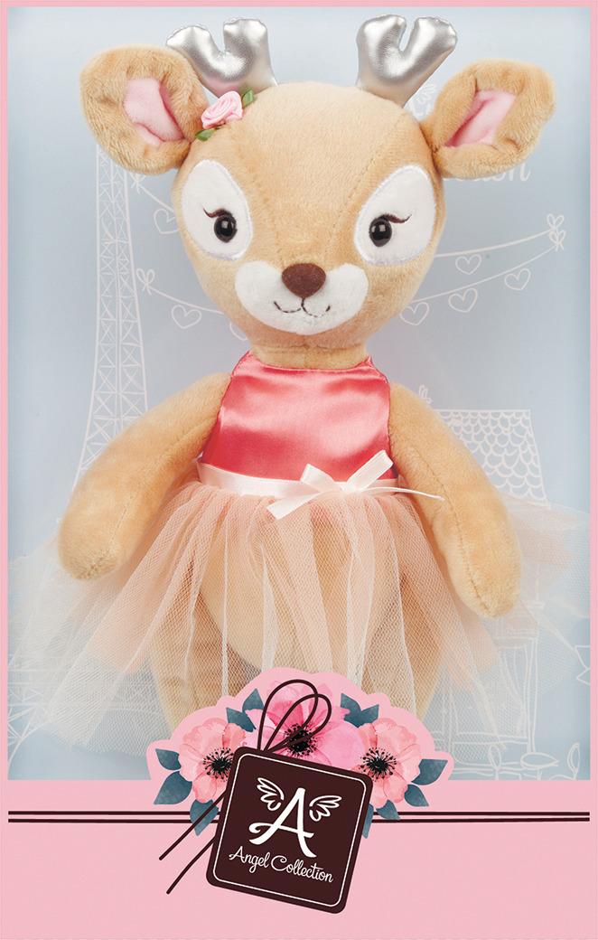 Игрушка мягкая Angel Collection Олененок Николь, 681492, коричневый, в платье, 25 см цена