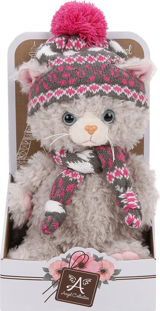 Игрушка мягкая Angel Collection Cat story Котик в шляпке, 681555, серый, 25 см мягкая игрушка котенок angel collection cat story поваренок искусственный мех 20 см 681344