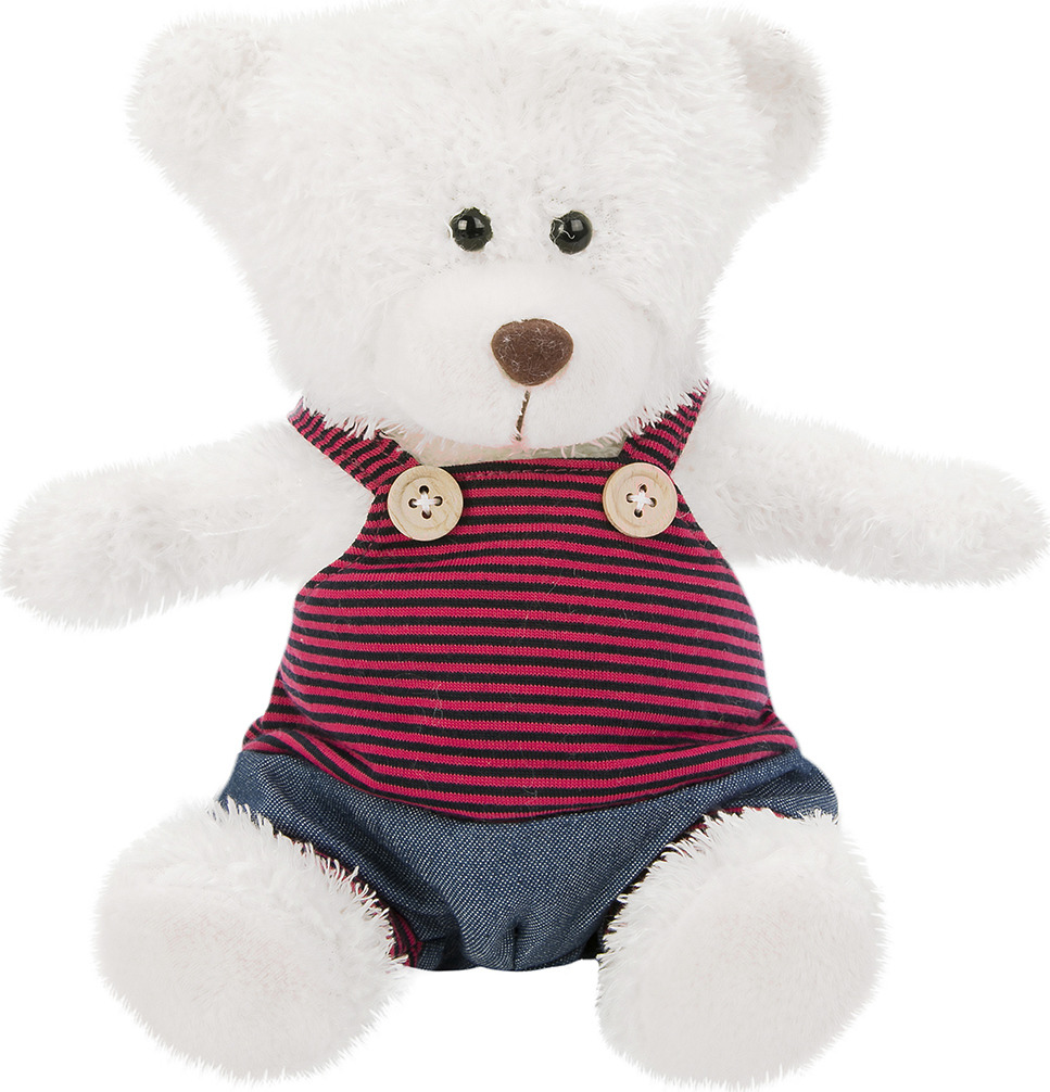 Игрушка мягкая Fluffy Family Мишка в штанишках, 681557, белый, 20 см мягкая игрушка медведь fluffy family мишка бантик искусственный мех наполнитель коричневый 40 см
