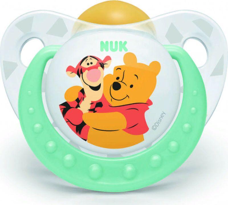 Пустышка NUK Trendline Disney, латексная, от 6 месяцев, 10733022-Зелёный пустышки nuk ортодонтическая латексная baby rose размер 1 0 6 мес