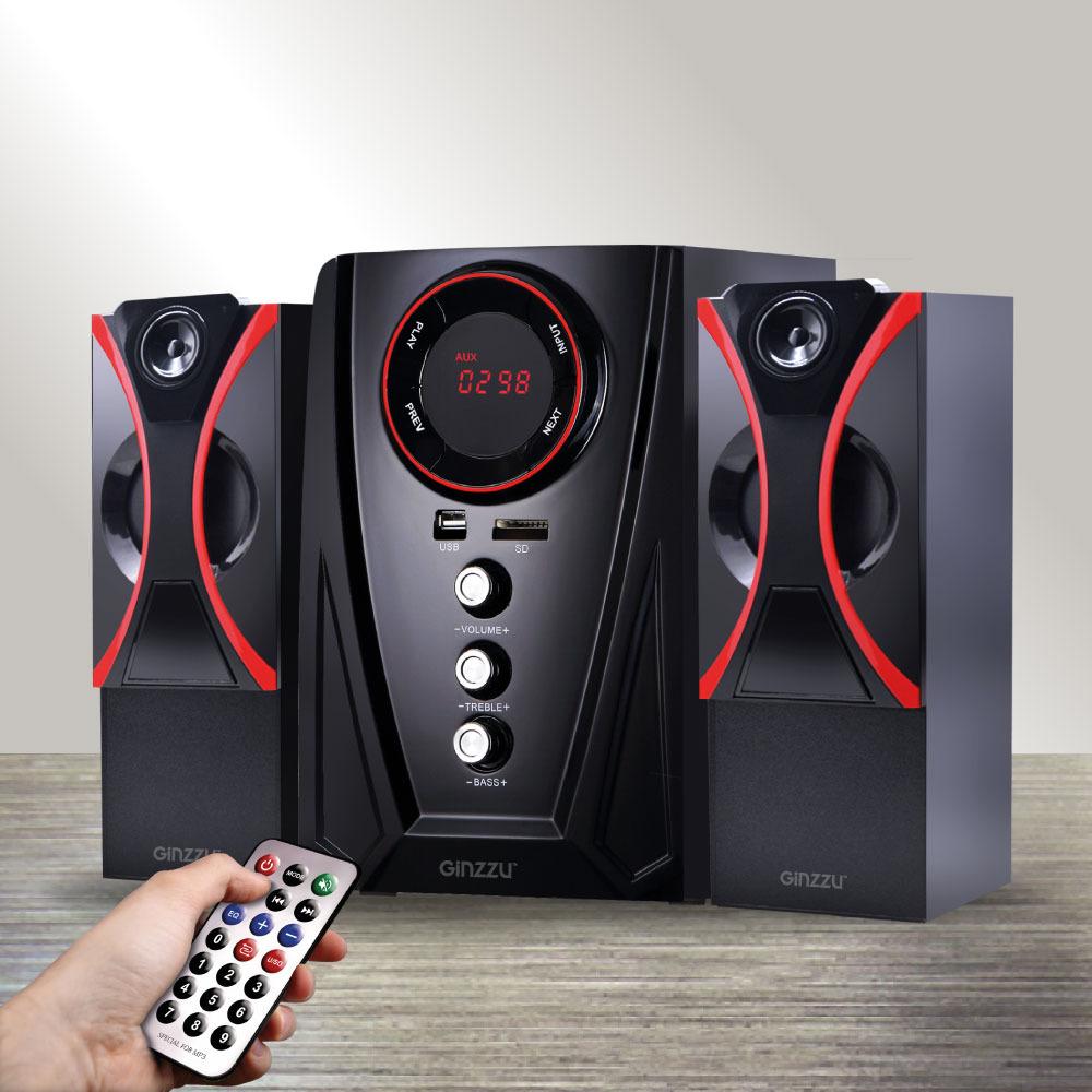 Компьютерная акустика Ginzzu, GM-407, черный, красный royqueen m350 bluetooth портативный наружный сабвуфер tws interconnect fm радио мини портативный сабвуфер ipx6 водонепроницаемый заколдованный черный