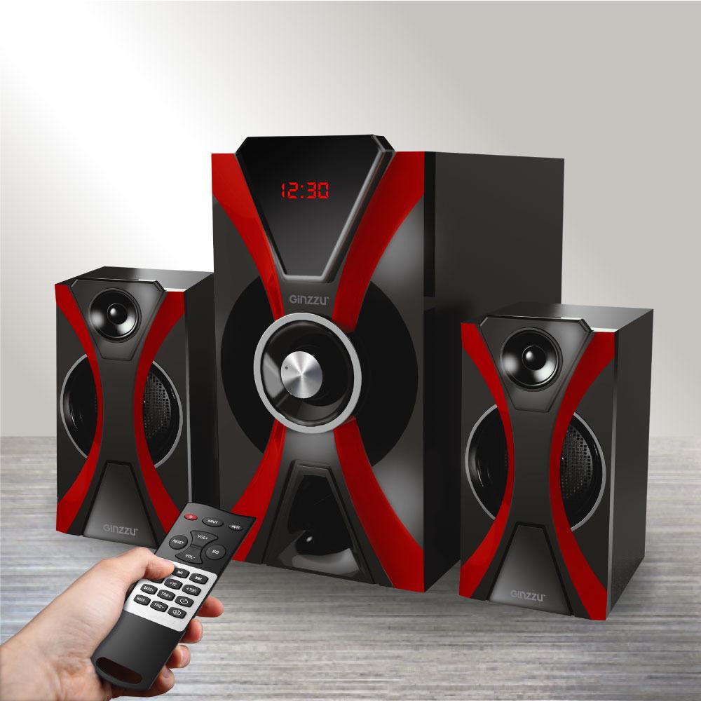 Компьютерная акустика Ginzzu, GM-427, черный, красный royqueen m350 bluetooth портативный наружный сабвуфер tws interconnect fm радио мини портативный сабвуфер ipx6 водонепроницаемый заколдованный черный