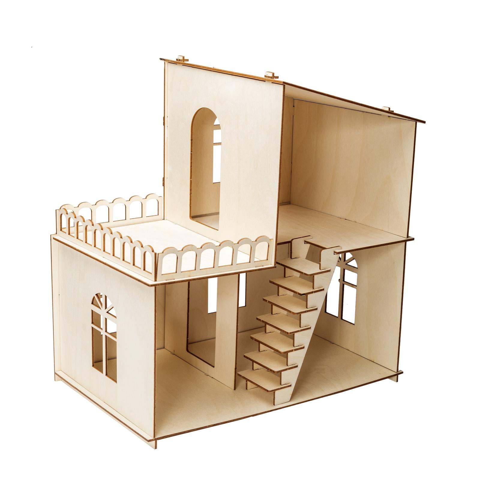 Дом для кукол Iq Format двухэтажный, с верандой, для кукол LOL бежевый набор мебели игрушечный форма спальня