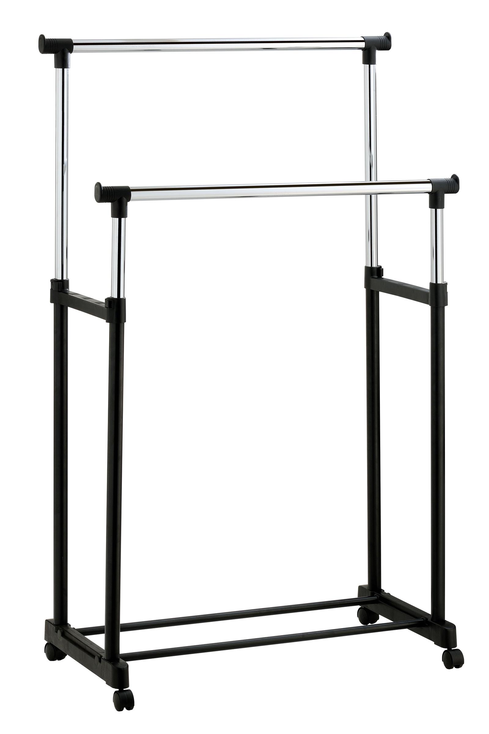Стойка для одежды UniStor Напольная вешалка для одежды DUBLIN двойная передвижная напольная стойка, Хромированная поверхность гардеробная стойка для одежды береза