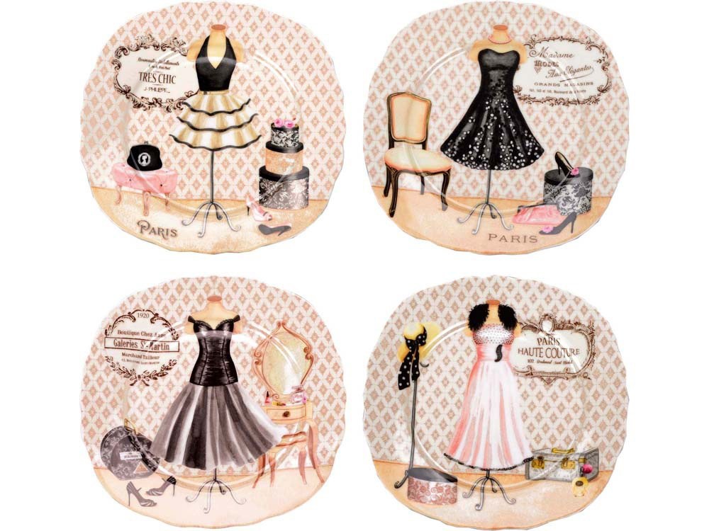 Набор из четырех десертных тарелок Lady Hamilton Высокая мода, 82183 цена
