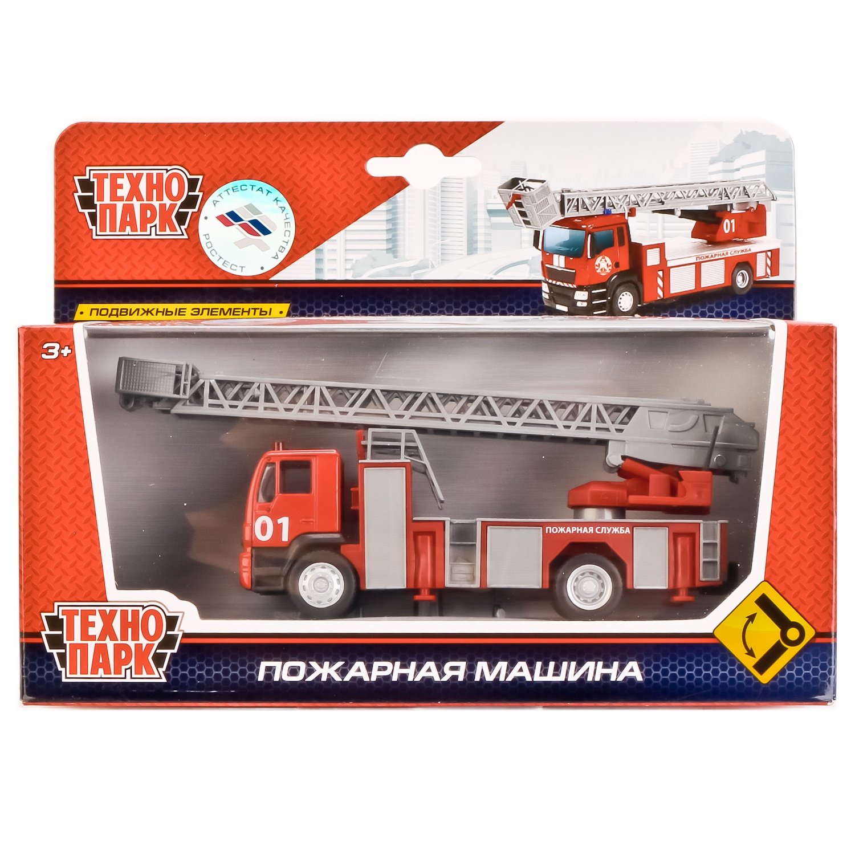 Машинка Технопарк Пожарная 1:64, 242514 машина технопарк металл пожарная 1 64 длина 15см с аксесс на блистере русс уп в кор 12 6шт