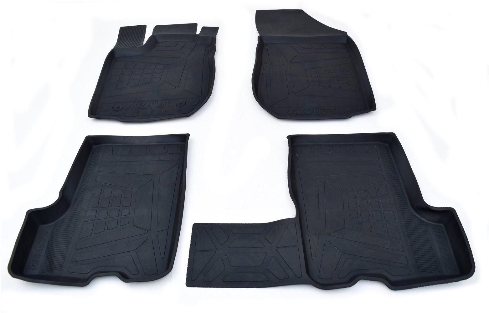 Коврики салона резиновые с бортиком для ВАЗ Приора (2007-) adrplr0231 коврики салона avtodriver для renault duster передний привод 2011 adrjet023 резиновые с бортиком черный