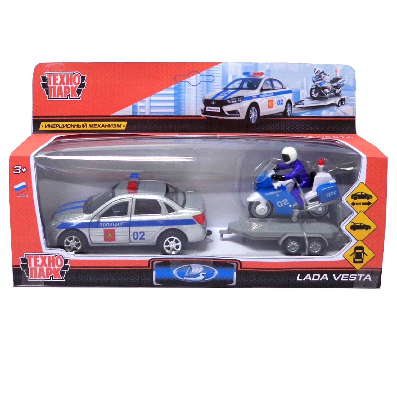 """Набор Технопарк Lada Vesta """"Полиция"""" машинка+мотоцикл на прицепе, 258293, серебристый, синий, белый"""
