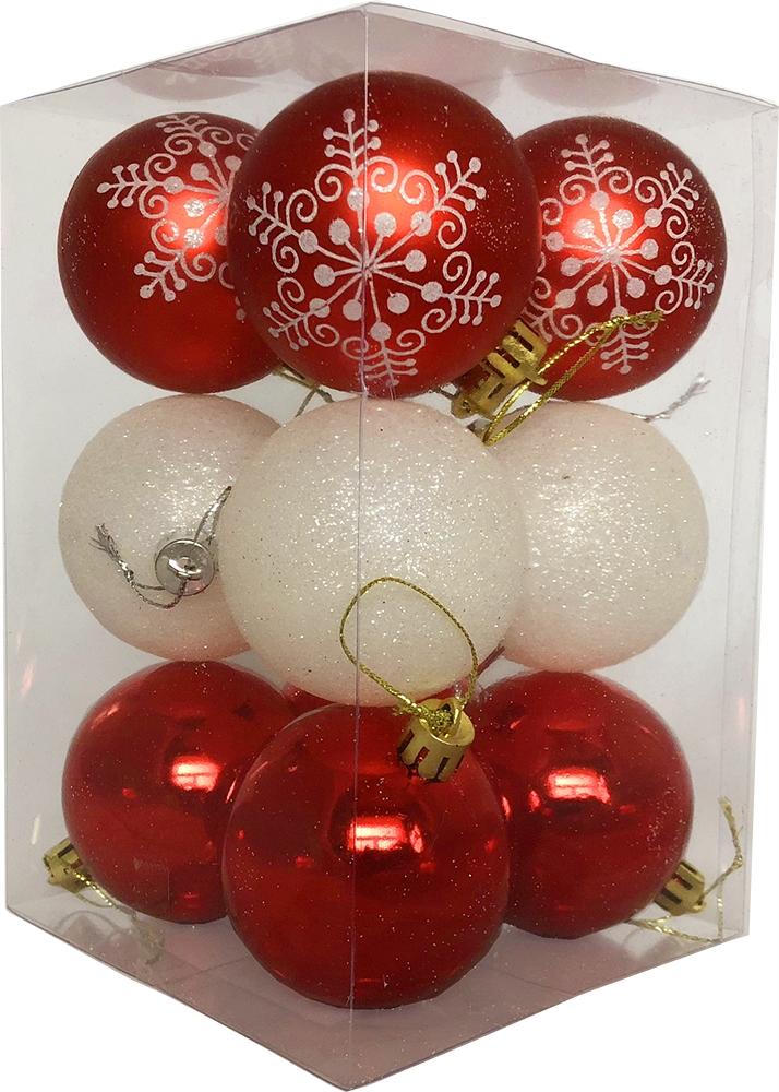 """Набор елочных шаров """"Магия праздника"""", NY032, красно-белый, диаметр 6 см, 12 шт."""