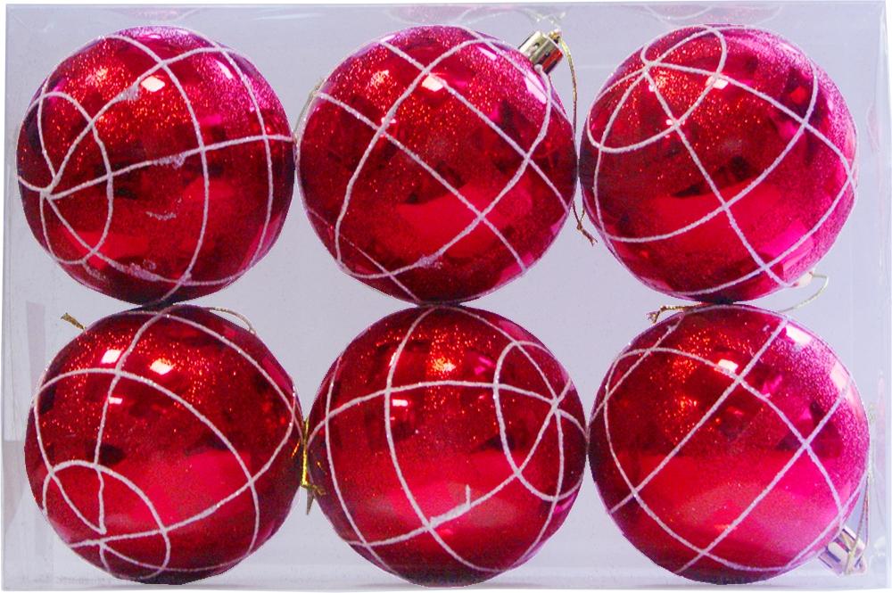 Набор елочных шаров Магия праздника, NY031, красный, диаметр 8 см, 6 шт набор шаров выпуклые стекло 6шт 80мм красный