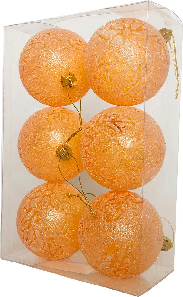 Набор елочных шаров Магия праздника, NY034, диаметр 7 см, 6 шт., оранжевый набор елочных игрушек русские подарки веселый новый год 9 шт 71435