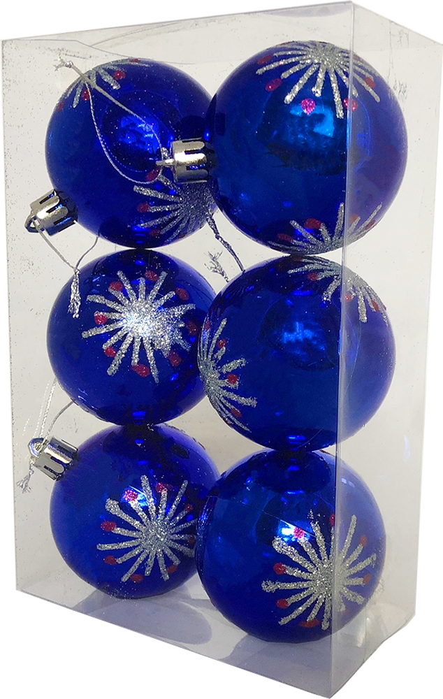 Набор елочных шаров Магия праздника, NY037, 6 шт, синий, диаметр 6 см набор шаров пластик 100мм 2шт ледяное золото