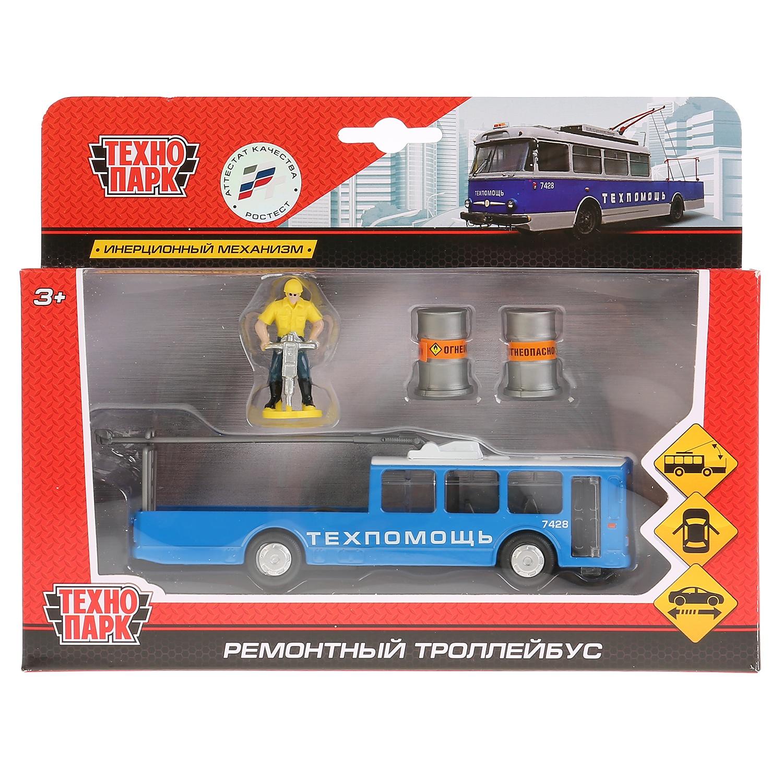 Машинка Технопарк Троллейбус, 258217 машинки технопарк троллейбус с резинкой технопарк металлический 12см