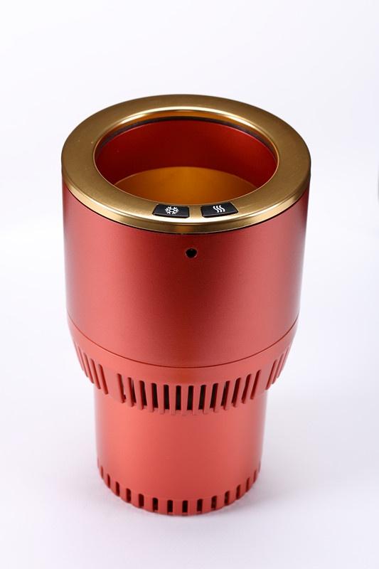 Электрический подстаканник Paltier Термос автомобильный для подогрева и охлаждения напитков в автомобиле красный с золотом, красный