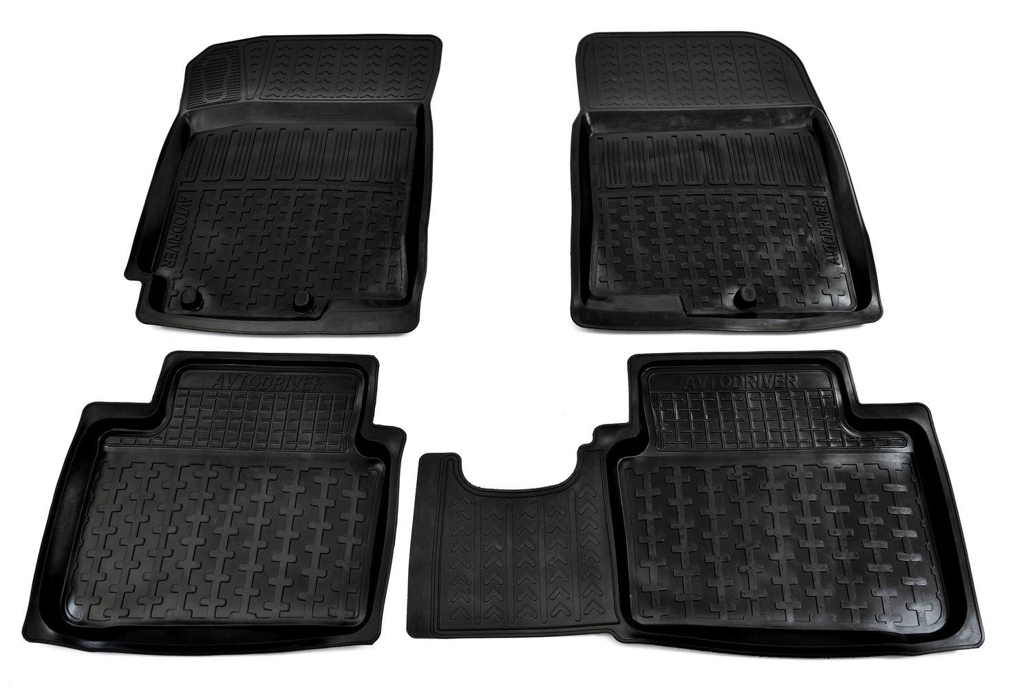 Коврики в салон автомобиля Avtodriver, для Kia Rio, 2011-2017, ADRPRO003, резиновые, с бортиком, черный комплект ковриков в салон автомобиля klever kia rio 2011 econom