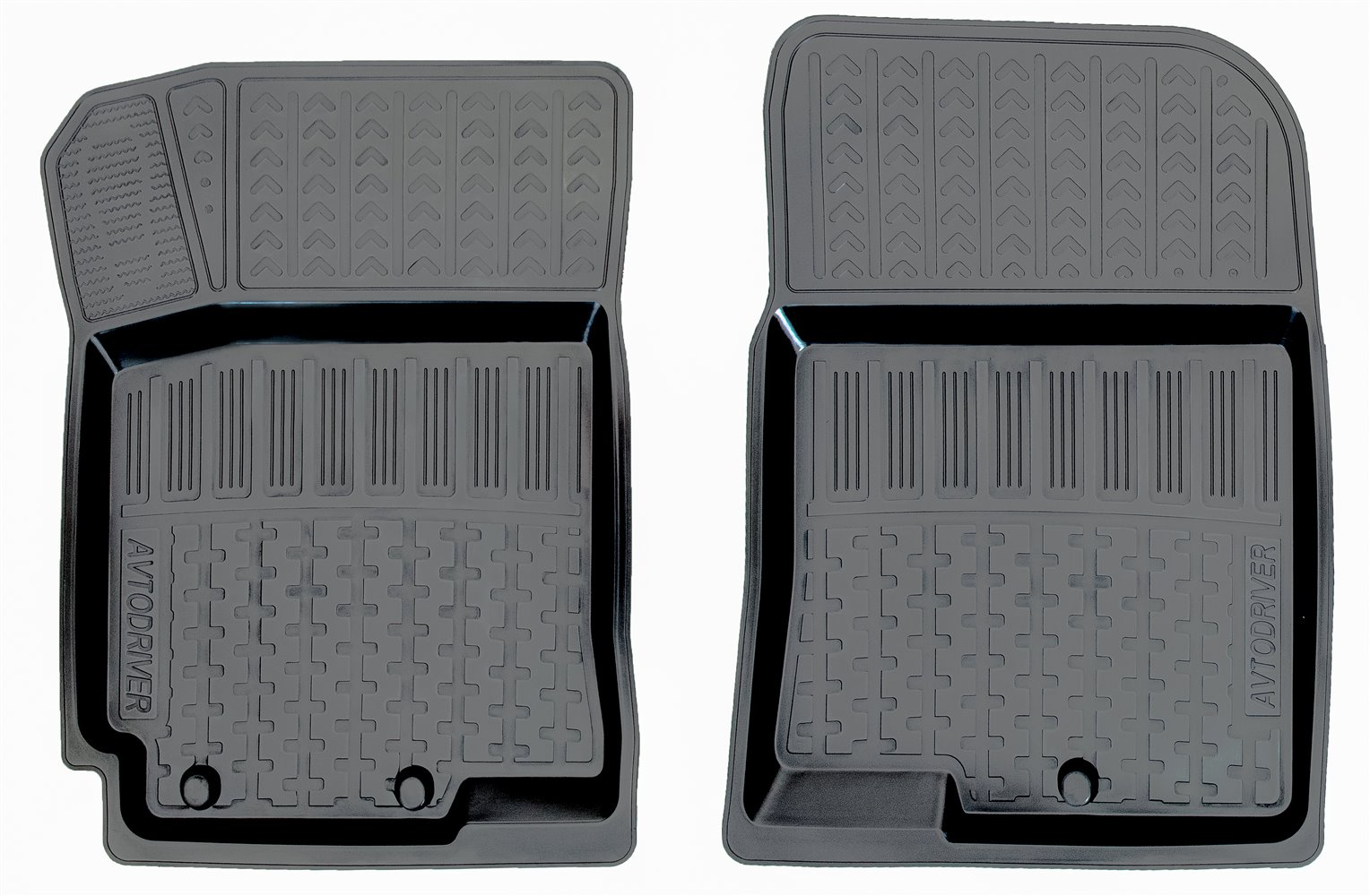 Коврики в салон автомобиля Avtodriver, для Kia Rio, 2011-2017, 2 передних, ADRPRO003-2, резиновые, с бортиком, черный комплект ковриков в салон автомобиля klever kia rio 2011 econom
