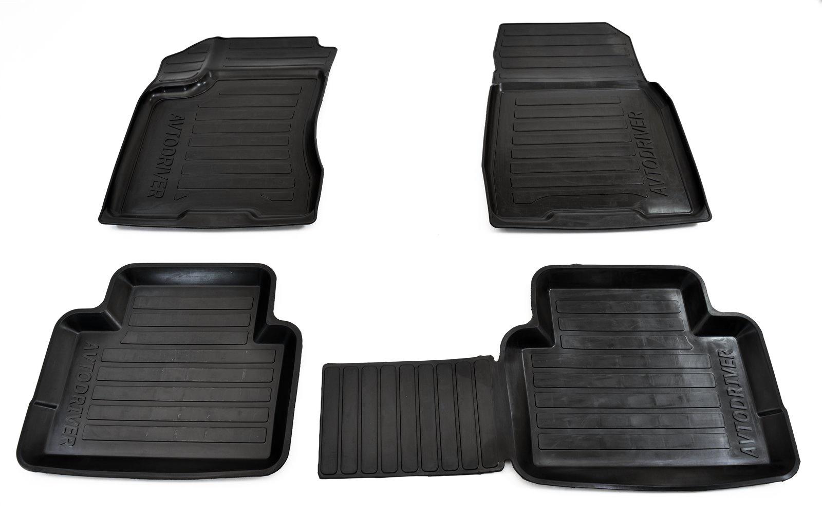 Коврики салона Avtodriver для Nissan X-Trail (2014-) ADRJET043, резиновые, с бортиком, черный for nissan x trail t32 2015 2019 car trunk mat element carnis00056