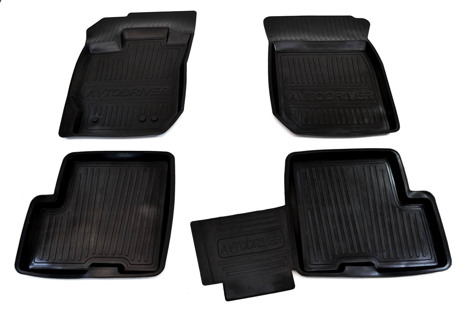 Коврики салона Avtodriver для Renault Sandero (2010-2014) ADRJET026, резиновые, с бортиком, черный коврики салона avtodriver для renault duster передний привод 2011 adrjet023 резиновые с бортиком черный