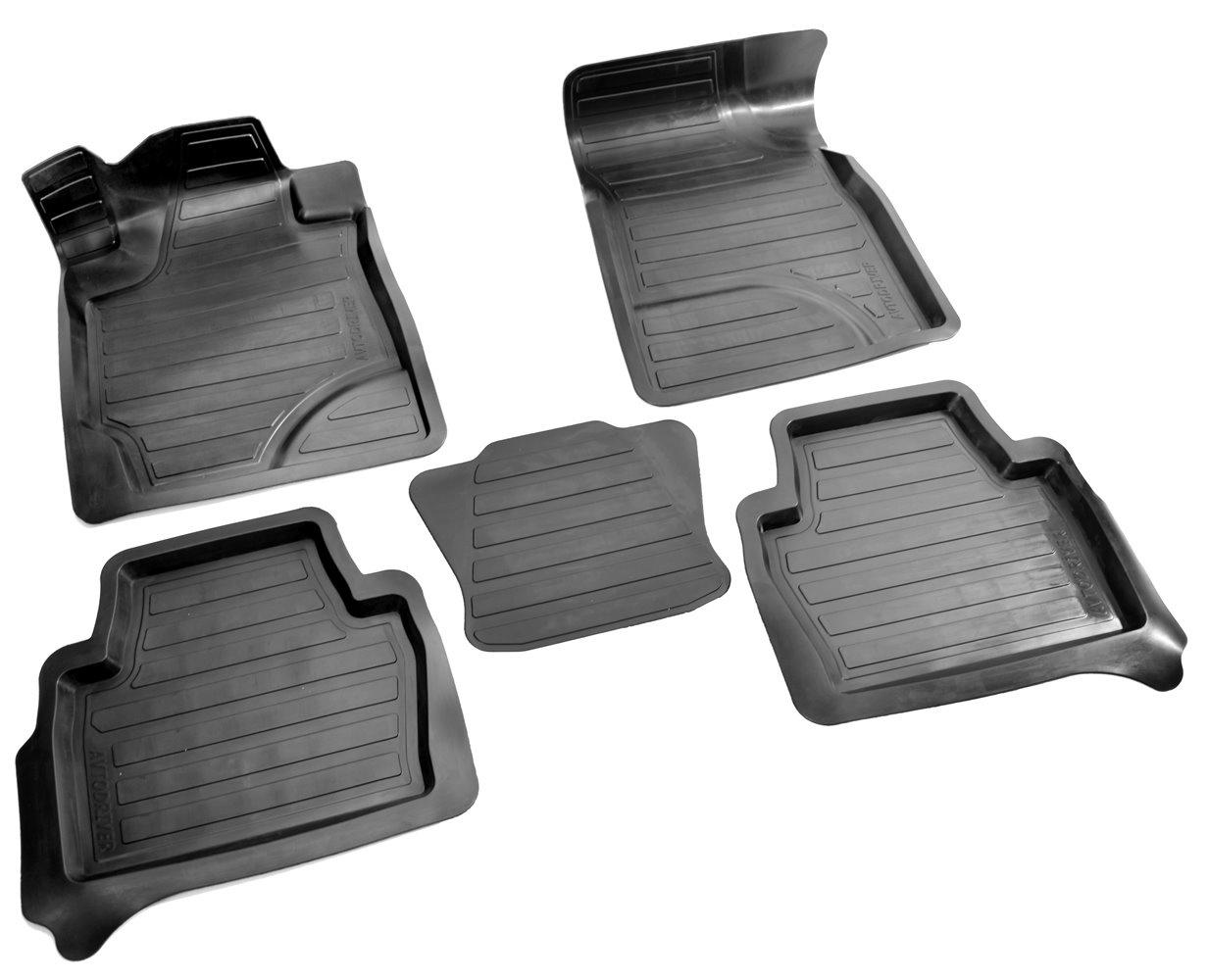 Коврики в салон автомобиля Avtodriver, для Toyota Highlander, 2014-, ADRAVG163, резиновые, с бортиком, черный комплект ковриков в салон автомобиля klever toyota highlander 2014 standard