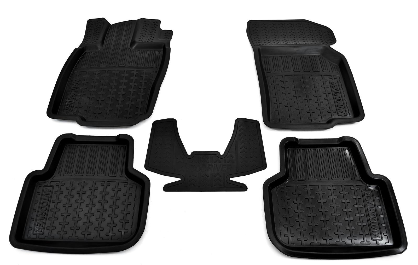 цена на Коврики в салон автомобиля Avtodriver, для Volkswagen Golf, 2013-, ADRPRO014, резиновые, с бортиком, черный