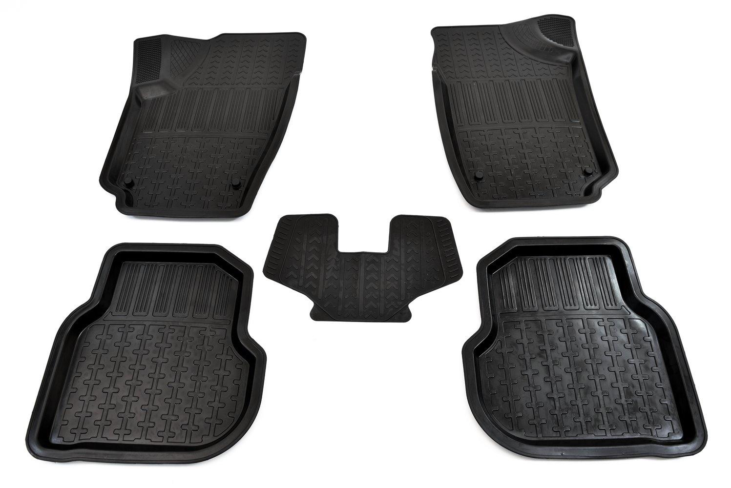 цена на Коврики в салон автомобиля Avtodriver, для Volkswagen Polo, 2009-, ADRPRO011, резиновые, с бортиком, черный