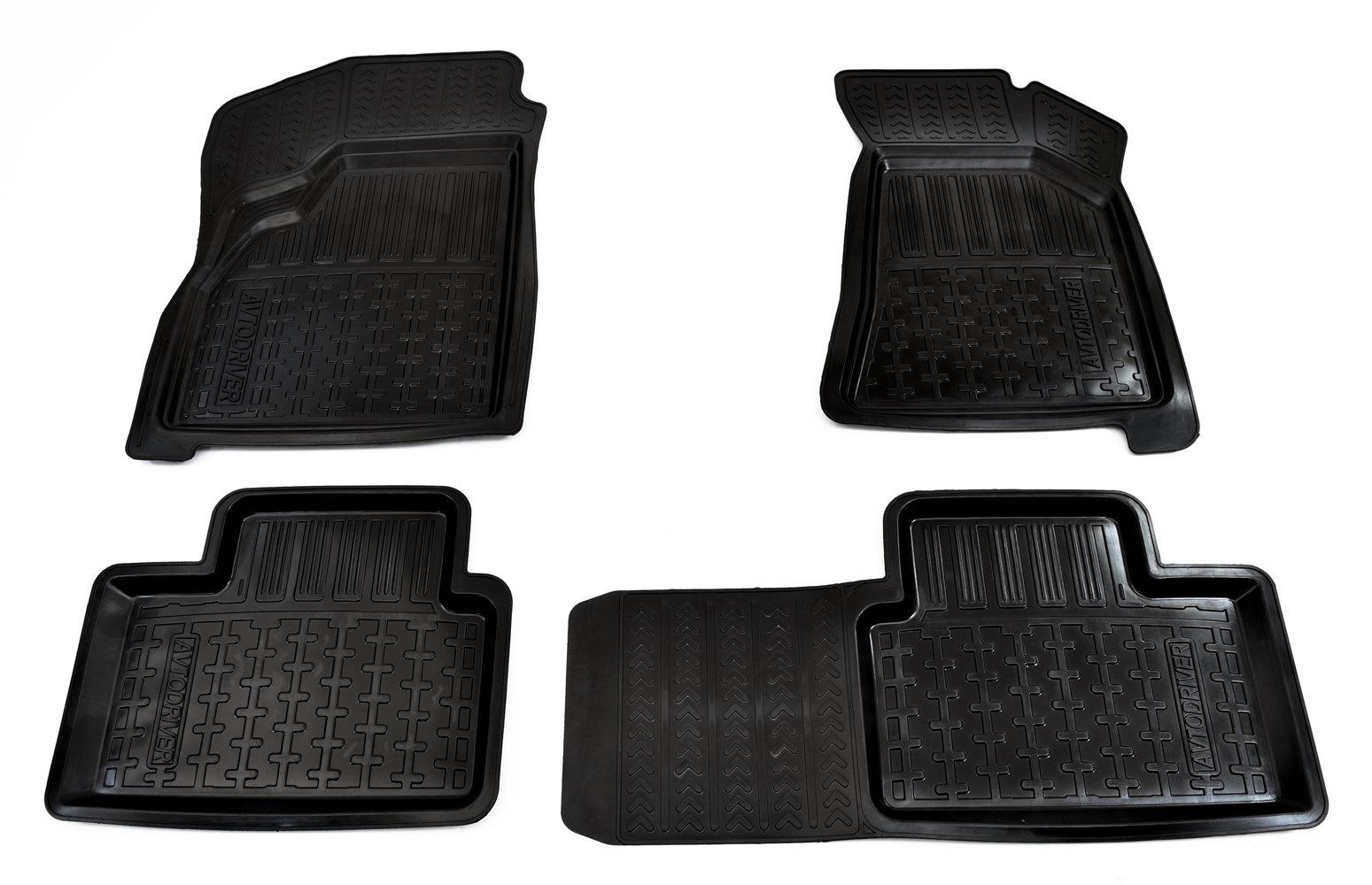 Коврики в салон автомобиля Avtodriver, для ВАЗ Приора II, 2014-, ADRJET012, резиновые, с бортиком, черный дефлектор капота skyline ваз lada priora приора sd hb wag 2007