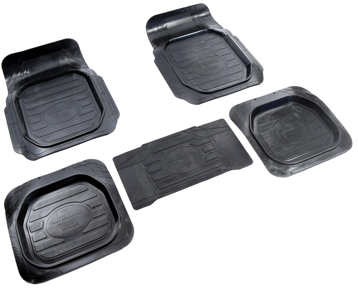 Коврики в салон автомобиля Avtodriver Вираж, универсальные, 4 шт, с отдельной перемычкой, ADRU004, резиновые, с бортиком, черный для автомобиля резинотканевые коврики